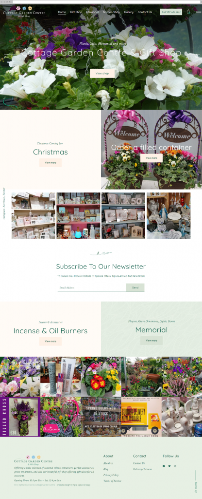 Cottage Garden Centre Full Page Web Design