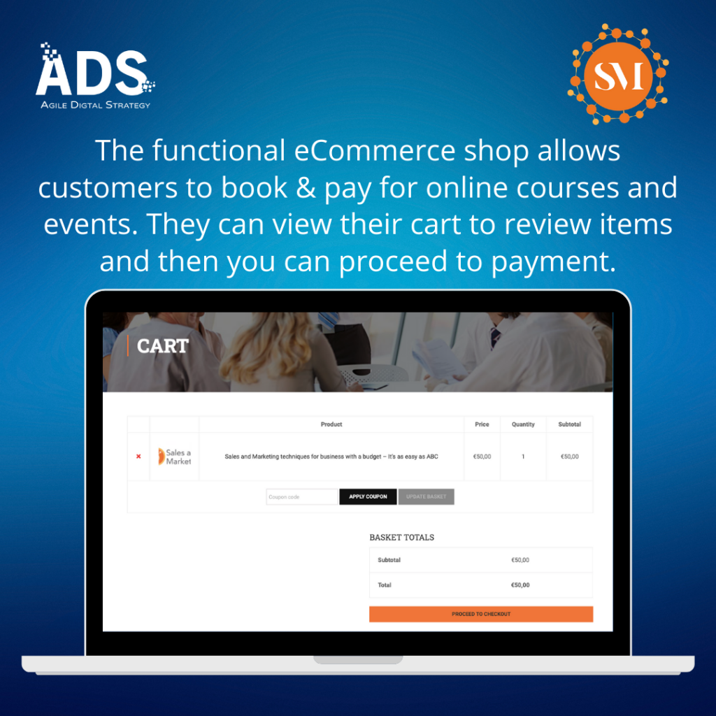 eCommerce functionality of shop, payments and booking system for Smart Marketing