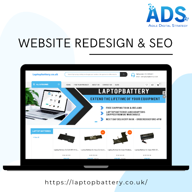 Website Redesign and SEO of Laptop Battery - Agile Digital Strategy