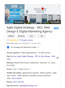 Google My Business SEO Optimisation Search Result